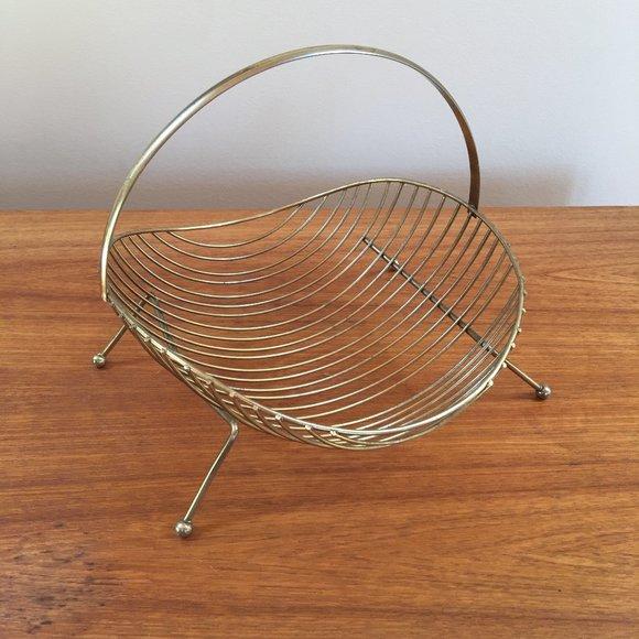 Vintage Gold Tone Wire Basket Mid Century Modern